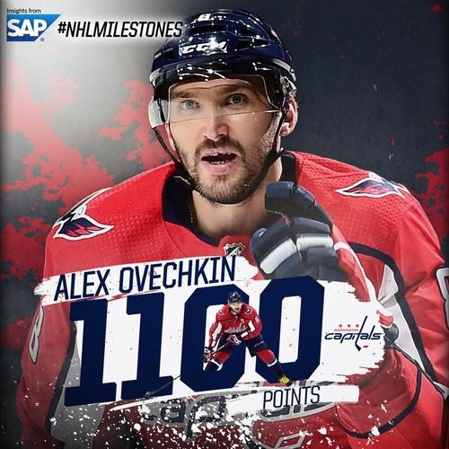 Овечкин достиг отметки в 1100 очков в НХЛ