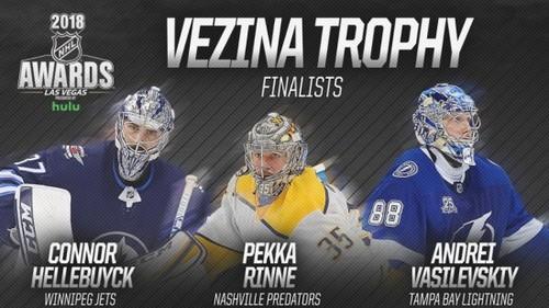 НХЛ. Ринне, Василевский и Хеллебайк — претенденты на Везина Трофи