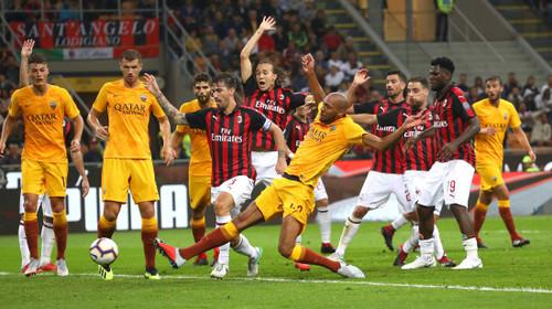Милан в конце встречи добыл победу над Ромой